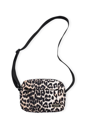 Ganni Recycled Tech Fabric Bag - Leopard