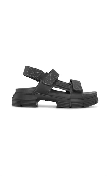 Ganni Recycled Rubber Sandal - Black